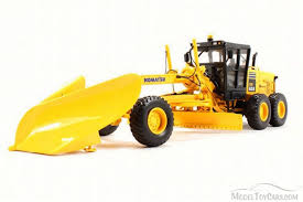 komatsu gd655 5 motor grader wtih v plow wing first gear 50 3266 1 50 scale cast construction vehicle