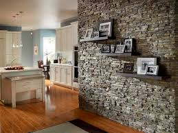 wall kitchen stacked stone tile with shelving