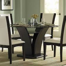 710 54 daisy modern espresso wood glass top round dining table