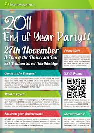 Full details of end of year party flyer for digital design and education. 2011 End Of Year Party Flyer High Res Let S Make Games