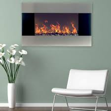 stainless steel electric fireplace with wall mount and remote in silver