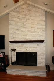 brick fireplace insert after makeover whitewashed traditional floor to ceiling brick fireplace with black insert with brick fireplace insert