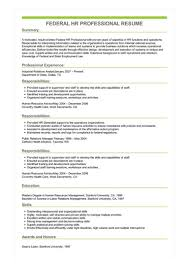 Human Resources Resumes Sample Federal Hr Professional Resume
