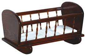 Amish Made Toy Baby Doll Oak Cradle With Spindles - Traditional ...