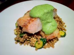 fine dining food trends. roast haddock, mediterranean salad and a cucumber foam. - fine dining recipes | food trends