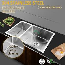 660mm Wide Cut Out 226 710x450mm Double Kitchen Sink Stainless