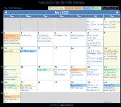 Calendar May 2020 May 2020 Calendar With Holidays United States