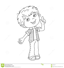 Coloring Page Outline Cartoon Boy Great