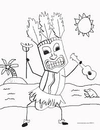 Small Picture Tiki hot dog with ukulele coloring page Coloring Pages