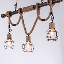 antique bronze hemp rope chandelier indsutrial retro linear 3 light pendant with wire cage