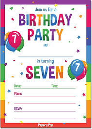 Birthday Invitations Boy Papery Pop 7th Birthday Party Invitations With Envelopes 15 Count 7 Year Old Kids Birthday Invitations For Boys Or Girls Rainbow