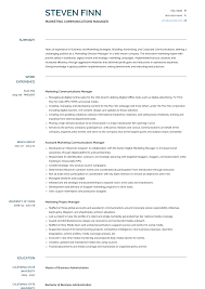 Communications Manager Resume Samples Templates Visualcv
