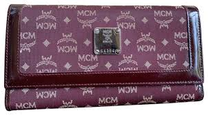 tri fold windows mcm burgundy w canvas patent leather long trifold w id windows wallet