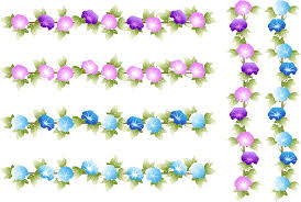 フリーイラスト 6種類の縦と横のあさがおの花のラインのセットでアハ