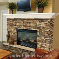 Faux rock fireplace with white mantel