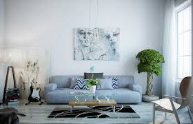 blue couches living rooms minimalist. Artistic Modern Blue Living Room With Large Couch, Small Rug Under Low Legged Table, Two Art Paintings, Electric Guitar, And Indoor Plants Decoration Photo Couches Rooms Minimalist M