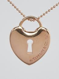 18k rose gold heart key hole small pendant necklace tiffany