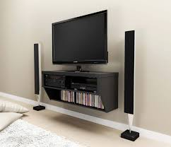 black stained oak wall mounted media shelf and tv stand trendy wall mounted media shelf