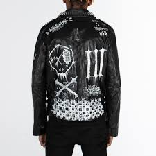 studded biker jacket hand painted 4