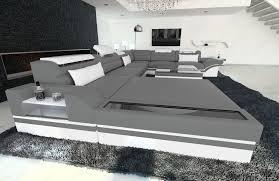 Details Zu Sofa Wohnlandschaft Mezzo Xxl Design Luxus Relax Couch Led Ottomane Grau Weiss