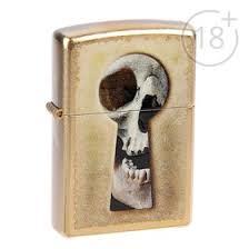 <b>Зажигалка ZIPPO</b> 28540 <b>Keyhole</b> Skull с покрытием Gold Dust ...
