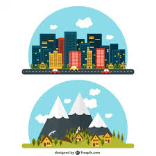 Rural And Urban Landscape Vector Free Download