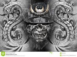 японские маска и змейки дизайн татуировки иллюстрация штока