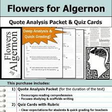 Flowers For Algernon Quotes Delectable Flowers For Algernon Quote Analysis Reading Quizzes By S J Brull