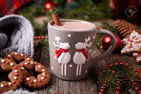cup of hot chocolate christmas. Unique Christmas Cup Of Hot Chocolate Or Cocoa Beverage With Two Cute Deer Cinnamon And  Gingerbread Round To Of Hot Chocolate Christmas A