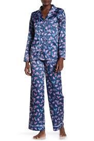Munki Munki Moth Print Satin Pajama 2 Piece Set Hautelook