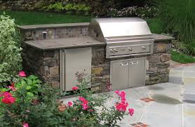 quaint natural stone built in outoor grill design and construction nj