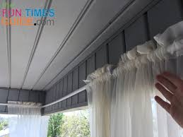 this is what it looks like with the curtain panels hanging on the diy outdoor curtain