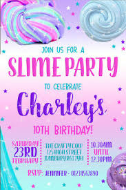 Birthday Invatations 10 Slime Party Invitations Personalised Invites Birthday With Envelopes Ebay