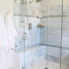gray glass mini brick shower border tiles with stacked glass corner shelves
