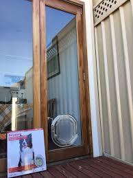 medium dog door for glass doors wooden frame