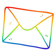 A Creative Rainbow Gradient Line Drawing Cartoon Letter Stock Vector - Illustration of simple, writing: 152645552