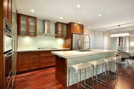 kitchen glass backsplash. Example Of A Trendy Kitchen Design In Vancouver With Stainless Steel Appliances Glass Backsplash
