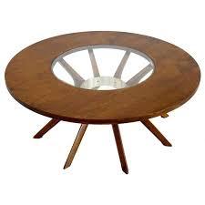 diy mid century modern round coffee table splay leg walnut at x 1