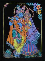 radha krishna emboss painting