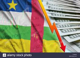 Central African Republic Flag And Chart Falling Us Dollar
