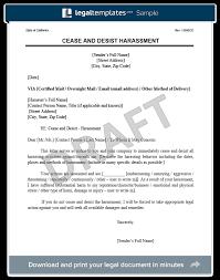 harassment cease and desist letter