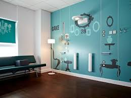 home wall decoration idea with blue wall sticker and decorative wall mount lamp and sconces