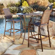 Panama Jack Island Cove Woven Slatted Bar Height Patio Table Set Outdoor Bistro Table Set Bar Height