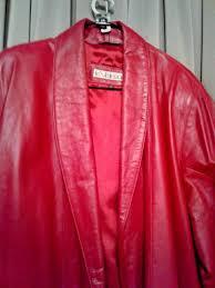 designer brand excelled red leather shawl collar wrap coat extra large elegant