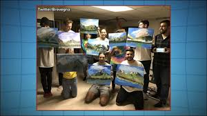 22 year old throws himself a bob ross themed painting birthday party