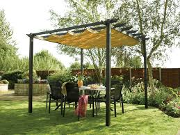 Decorations:Exciting Outdoor Canopy Design For Backyard Pergola With Dining  Set And Garden Exciting Outdoor