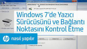 Windows 7'de Yazıcı Sürücüsünü ve Bağlantı Noktasını Kontrol Etme - YouTube