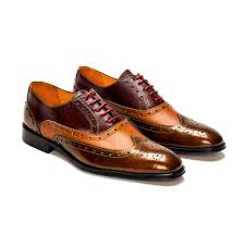 a custom made brogue leather oxford shoe burdy camel and bronze with red laces
