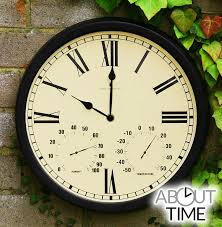 radio controlled multi function 35cm 13 7 outdoor garden clock with thermometer by about time 54 99