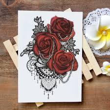 водонепроницаемая временная татуировка стикер кружева розы